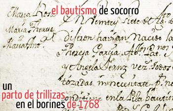 Parto de trillizas en 1786. El bautismo de socorro